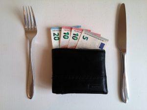 wallet with few euros