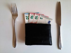 A wallet full of money with a fork on the left and a knife on the right