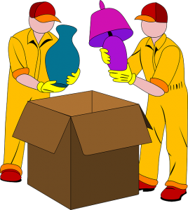 Cartoon of two workers handling lamps. Hire professional packers to carefully pack fragile items.
