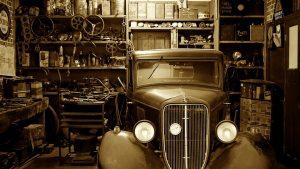 vintage car in the garage