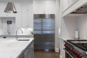 Large stainless steel French doors fridge