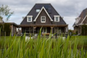 black house and green grass