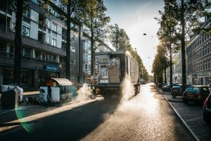 movinh truck on the street
