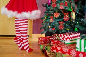 Christmas tree, stockings and presents