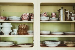 tableware on the shelves
