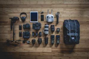 organized set of camera gear