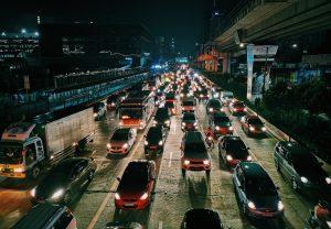 Cars stuck inside a traffic jam