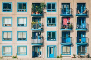 apartments with blue windows