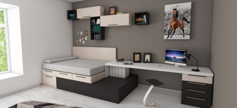 a picture of a minimalist bedroom with a bed, a table and shelves as a way to move house like a minimalist