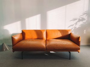 An orange leather sofa