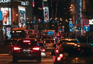 a picture of a traffic jam in the evening