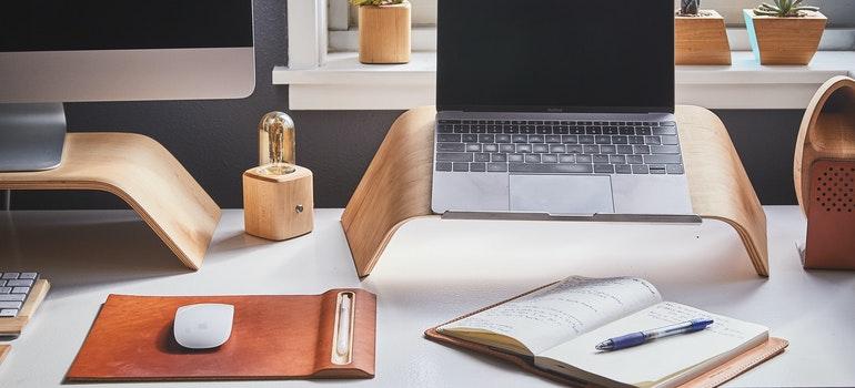 A laptop on a work desk
