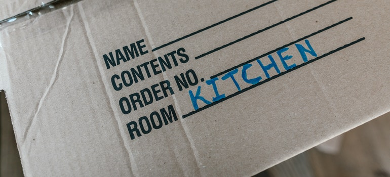 A labeled moving box