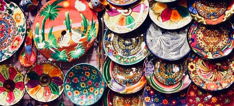 Many colorful handmade plates