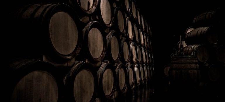 wine barrels stored properly