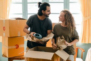 couple about to organize a move from Washington to Virginia