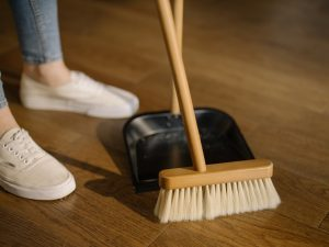 a person cleaning their home before they settle after moving to Annapolis